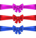Set colorful gift bows with ribbons illustration Royalty Free Stock Image