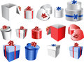 Set of colorful gift boxes with bows and ribbons. Royalty Free Stock Photography