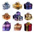 Set of colorful gift boxes with bows and ribbons illustration Royalty Free Stock Photos