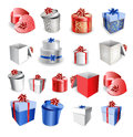 Set of colorful gift boxes with bows and ribbons vector illustration Stock Photo