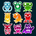 Set colorful glossy monsters Royalty Free Stock Photos