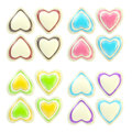 Set of colorful glossy plastic hearts isolated Stock Images