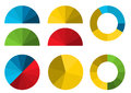 Set of colorful half pie diagrams in color shades and full p these for your presentation infographic Stock Photos