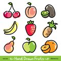 Set of colorful hand drawn fruits on white background Stock Photos