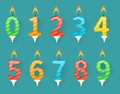 Set of colorful happy birthday number candles