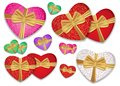 Set colorful hearts tied gold ribbon with a bow. Box in the shape of a heart. Vector