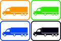 Set colorful heavy trucks isolated silhouette Stock Photography