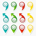 Set colorful infographic elements arrows smileys Stock Image