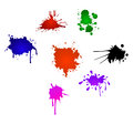 Set colorful ink splashes isolated white Stock Images