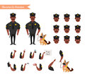 Set of colorful isolated vector policeman at work.