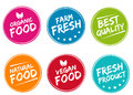 Set of colorful labels and badges for organic, natural, bio and eco friendly products.