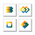 Set of colorful logo designs of geometric shapes like squares rhombus vector icons Stock Photo