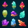 Set of colorful magic energy gems gemstones with amulets belt shapes. Vector game design elements
