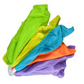 Set of colorful microfiber cloths on white background Stock Images