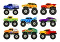 Set of monster trucks. Heavy cars with large tires and black tinted windows. Flat vector for advertising poster