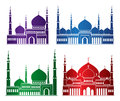 Set of Colorful Mosque or Masjid Elements