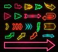 Set of colorful neon arrows and pointers, Vector illustration.