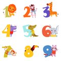 Colorful numbers from 1 to 9 and animals. Cartoon lion, zebra, giraffe, hippopotamus, crocodile, elephant, monkey