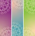 Set of colorful oriental elephant henna mandala vertical banners