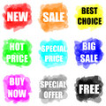 Set of colorful paint splat for commerce Royalty Free Stock Photo