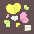 Set of colorful paper hearts vector illustration Stock Photo
