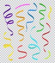Set of colorful party streamers or ribbons isolated on transparent background