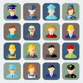 Set of colorful people occupation icons avatars in flat style Stock Photo