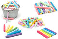 Set of colorful pieces of chalk on white