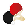 Set colorful ping pong rackets and ball Royalty Free Stock Photo