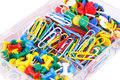 Set of colorful pins and clips closeup picture Royalty Free Stock Photography