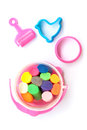 A set of colorful plasticine for kid on white background Royalty Free Stock Photos