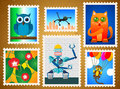 Set colorful postage stamps animals flowers robot Stock Photography