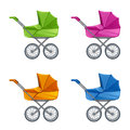 Set of colorful prams Royalty Free Stock Photo