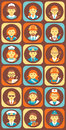 Set of Colorful Profession People Flat Style Icons Royalty Free Stock Photo