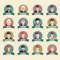 Set of colorful profession people flat style icons in circles vector illustration Stock Photo