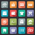 Set of colorful purchase icons in flat style on web buttons showing a store till bankcard tags bag wallet fashion trolley scissors Royalty Free Stock Images