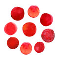Set of colorful red hand drawn watercolor spots, circles isolated on white.