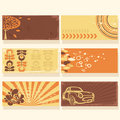 Set of colorful retro cards Royalty Free Stock Photography