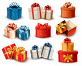 Set of colorful retro gift boxes with bows and rib ribbons vector illustration Royalty Free Stock Images