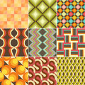 Set of colorful retro seamless pattern wallpaper Stock Photos