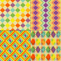 Set of colorful retro seamless pattern wallpaper Royalty Free Stock Images