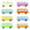 Set of colorful retro travel buses. Cartoon hippie vans in different colors isolated on a white background.