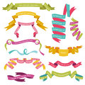 Set of Colorful Ribbons Stock Images