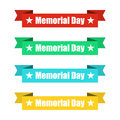 Set of colorful ribbons banners with Memorial Day. Vector illustration