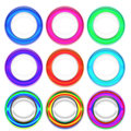Set of colorful rings nine on white Royalty Free Stock Photo
