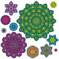 Set of 10 colorful round ornaments, kaleidoscope floral patterns Royalty Free Stock Photo