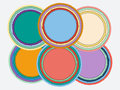 Set of colorful round torn paper frames with shadows