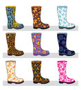 Set of colorful rubber boots Royalty Free Stock Photo