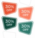Set of colorful sale stickers, labels, tags with 30% off.