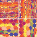 Set of colorful seamless patterns grunge circled and striped Stock Photography